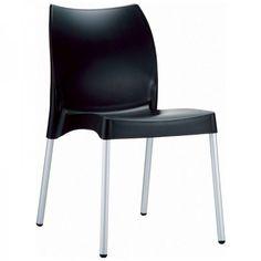 "Vita Resin Outdoor Dining Chair - Set of 2 (Black) (31.5""H x 17.3""W x 21""D)"