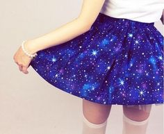 Harajuku cosplay starry sky lolita mini skirts blue stars printing short skirts young girls