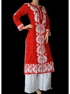 ISHIEQA's Aari work Red Cotton Kurti - DC0501C