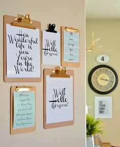 Keep your gallery wall on rotation with clipboards instead of frames.
