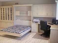 Wall bed w/ built-in office (open) Wall Beds, Custom Cabinetry, Murphy Bed, Two Bedroom, Storage Solutions, Shelving, Building, Interior, Furniture