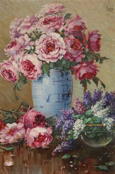 Peonies in a Vase by Turkish Painter Sami Yetik (Turkish, Famous Flower Paintings, Beautiful Paintings, Rose Paintings, Floral Paintings, Fabric Rug, Pretty Pictures, White Ceramics, Flower Art, Pink Flowers