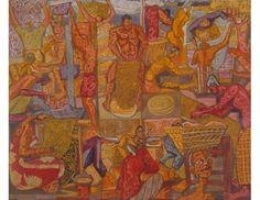 Untitled (Batik Workers); Artist: Chuah Thean Teng; Year: 1960; Country: Malaysia; Medium: batik; Dimensions: 73 x 88 cm