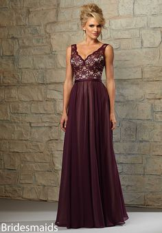 Bridesmaids Dresses Lace Bodice with Chiffon Skirt over Nude Lining Available in All Mori Lee Bridesmaids Solid Lace Colors or, Solid Lace over Nude Lining (as shown).