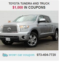 This #outstanding #ToyotaTundra will always bring a smile to your face...just a true pleasure to drive. It also has $1,000 in #coupons!! Enjoy our #Extra #Savings today! Go to www.wowcarcoupon.com for more info!! #wowcarcoupon #amazingsavings