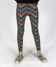 Look what I found on #zulily! Rated G Blue & Orange Tribal Leggings - Girls by Rated G #zulilyfinds