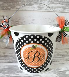 Custom Halloween Bucket from MonkeySee Boutique $22.00, via Etsy.