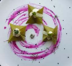 Kimchi Dumplings with cilantro wrapper, sesame ginger foam and purple cabbage puree