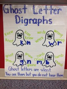 Ghost Letter Digraphs Anchor Chart by Alexandra DePaolo. This is an amazing way to teach about ghost letters and help kids remember when they are writing with them. Teaching Phonics, Teaching Reading, Kindergarten Reading, Preschool Learning, Teaching Ideas, Word Study, Word Work, Reading Anchor Charts, Grammar Anchor Charts
