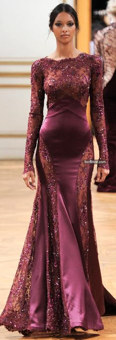 Vestido longo - cetim bordados - Zuhair Murad Fall Winter 2013-14 Haute Couture Collection