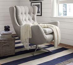 Wells Upholstered Swivel Armchair, Polyester Wrapped Cushions, Sunbrella(R) Performance Slub Tweed Pebble