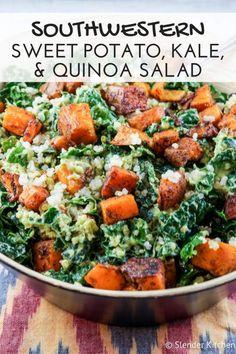 Southwestern Sweet Potato, Kale, and Quinoa Salad | Slender Kitchen