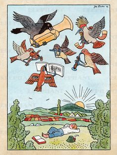 Birds Childhood Illustrator: Josef Lada Imprint: ArteHouse Music Smiles & Laughter' Vintage Signs, Unique Vintage, Kids Corner, Book Illustration, Birds In Flight, Wooden Signs, Painting & Drawing, Illustrators, Giclee Print