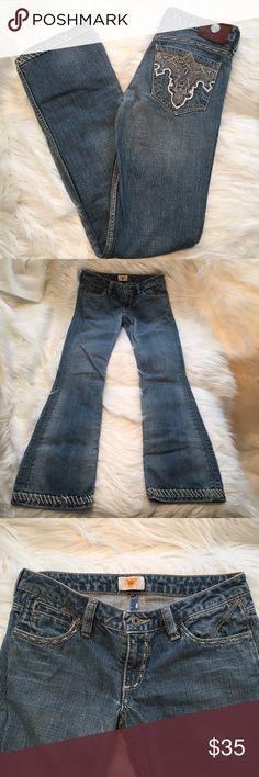 "Antik Denim saddle Stitch slim boot jeans 27 x 33 I wish these were my size – so cute. Embroidered pockets, saddle stitched seams and hem. Rigid cotton. Size 27: 30"" waist. 7.25"" rise. 33"" inseam. No flaws. Antik Denim Jeans"
