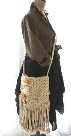 Fringed Macrame Handbag Purse, embellished, Bohemian cowgirl, gypsy bag, boho messenger, altered, autumn handbag, true rebel clothing