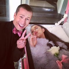 Glen Powell and Ariana Grande on the set of Scream Queens