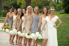 Our beautiful bride Heather & her bridesmaids looking absolutely gorgeous in neutrals! Rent the look at vowtobechic.com A mix and match real Vow wedding with blush, gray and nude dresses by designers Jim Hjelm and LulaKate and Swoon.