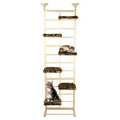 Hardwood ladder-style cat tree with multiple perches.   Product: Cat treeConstruction Material: Hardwood and fa...