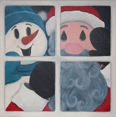 Hey, I found this really awesome Etsy listing at https://www.etsy.com/listing/111697594/original-painting-santa-and-snowman