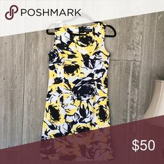 Dress Yellow, black and white multi colored polyester and spandex dress. Excellent condition Perceptions New York Dresses Midi