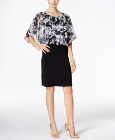 Connected Printed Cape Overlay Sheath Dress | macys.com