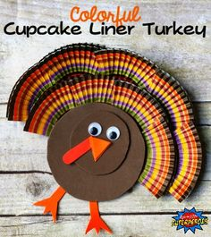 How To Make A Colorful Cupcake Liner Turkey Craft - Fall Crafts For Kids Thanksgiving Crafts For Toddlers, Holiday Crafts For Kids, Thanksgiving Activities, Crafts For Kids To Make, Valentines For Kids, Fall Crafts, Kids Crafts, Thanksgiving Turkey, Halloween Crafts