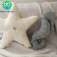 Baby Nursery Pillows - Nautical Bedding Starfish Seahorse Under the Sea Ocean Minky Velvet Boy Girl on Etsy, $40.00