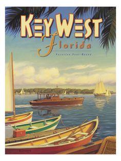 Key West, Florida - Vacation Year-Round - Ernest Hemingway's Yacht Pilar - Vintage Style World Travel Poster by Kerne Erickson - Master Art Print - 12 x Kunst Poster, Poster Art, Art Posters, Retro Posters, Florida Vacation, Florida Travel, Florida Honeymoon, Vintage Advertisements, Vintage Ads