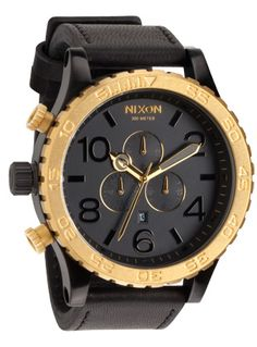 black leather and gold watch $ 325