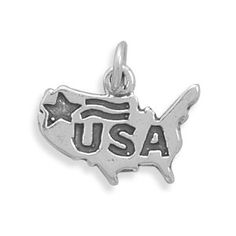 Small Sterling Silver U.S.A. Charm by jewelrymandave on Etsy