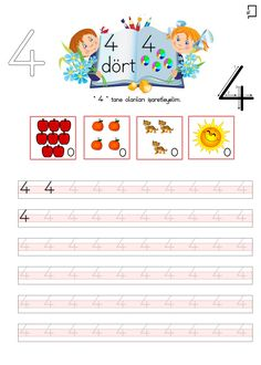 4 Rakamı Çalışma Sayfası Kids Math Worksheets, Number Worksheets, Preschool Printables, Preschool Math, Teaching Kindergarten, Turkish Language, Math For Kids, Kids Learning, Kids Rugs