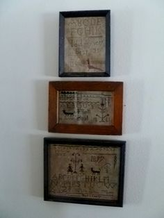 "love my samplers all from Linda Babb ""The Primitive Stitcher""."