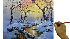 Acrylic Landscape Painting in Time-lapse / Sunrise on Winter Forest / JM... Acrylic Portrait Painting, Painting Snow, Forest Painting, Winter Painting, Image Painting, Acrylic Painting Canvas, Diy Canvas, Canvas Painting Tutorials, Painting Videos