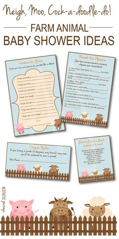 Neigh, moo, cock-a-doodle-do! A farm animal baby shower or birthday party is perfect for a girl or a boy. Just download and print and all your games and decor will be matching.  The mom-to-be will love it! Click through for invites, shower games, bring a book cards, diaper raffles, and more. Only at Aesthetic Journeys