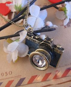 Love this Vintage Camera With Gem Pendant Necklace