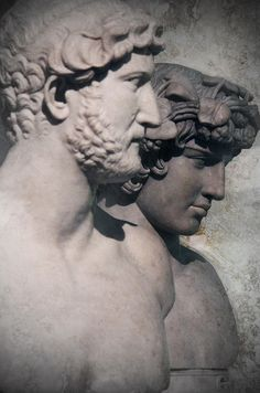 Portraits of Emperor Hadrian and his lover, Antinous, from the  Capitoline Museum.