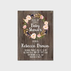 Rustic Floral Baby Shower Invitation Printable Bohemian Baby Shower Invite  Boho Baby Shower Blush Pink Floral Country Tribal Boho Wood 265