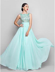 A-line Scoop Floor-length Chiffon Evening/Prom Dress