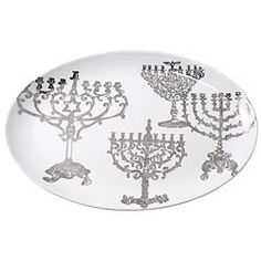 Hanukkah Lamp Oval Platter | Audrey's Museum Store at the Skirball