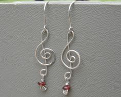 Treble Clef Silver Earrings with Garnet! That's my birth stone! :)