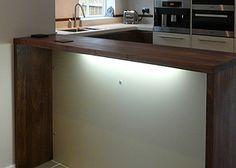 Walnut Breakfast Bar with matching downstands Walnut Worktops, Breakfast Bars, Wide Plank, Work Tops, Hardwood, Storage, Furniture, Home Decor, Purse Storage