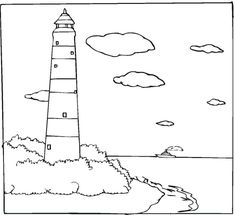 glue cut out tissue paper on lighthouse coloring sheet