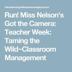 Run! Miss Nelson's Got the Camera: Teacher Week: Taming the Wild~Classroom Management
