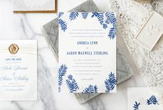 Blue and Gold Fern Wedding Invitations