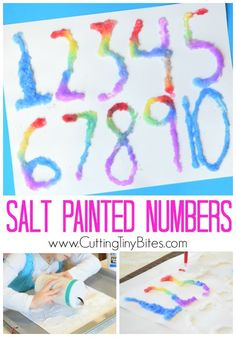 Salt painted numbers. Help preschoolers with their math by letting them learn numbers with this fun craft technique! Also great for fine motor development.