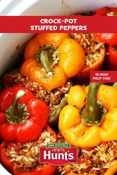 Crockpot stuffed peppers! Add some heat to gameday with this quick and easy recipe from our friend over at Diethood. And choose Hunt's for your tomato needs to keep your cooking natural. Because at Hunt's we only peel our tomatoes with Flashsteam™, not chemicals.* So choose Hunt's. Choose different. *Lye peeling is generally recognized as safe by the FDA and has no adverse effects on the healthfulness of tomatoes.