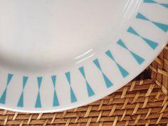 Homer Laughlin Dinner Plate, Turquoise Diamond or Bow Tie Border
