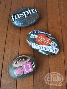 Literally, Mod Podge Rocks: magazine clippings + Mod Podge + rocks