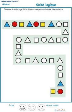 Logic Suite for Children from Petite Section Kindergarten Exercise 1 to Imp . Kindergarten Math Worksheets, Preschool Learning Activities, Worksheets For Kids, Preschool Activities, Kids Learning, Math For Kids, Kids Education, Teaching, Wallpaper Patterns