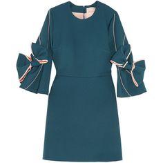 Roksanda Harlin bow-embellished stretch-crepe mini dress (15.157.315 IDR) ❤ liked on Polyvore featuring dresses, embellished dress, vintage dresses, mini dress, rose dress and long-sleeve mini dress